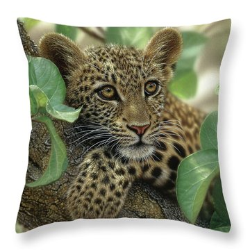 Leopard Cub - Tree Hugger Throw Pillow