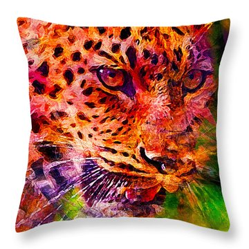 Leopard Throw Pillow by Elena Kosvincheva