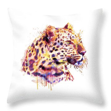 Leopard Head Throw Pillow by Marian Voicu