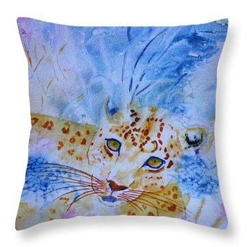 Leopard Hide And Seek Throw Pillow