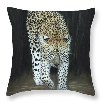 Throw Pillow featuring the painting Leopard by Karen Zuk Rosenblatt