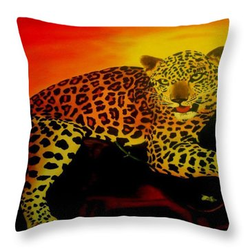 Leopard On A Tree Throw Pillow