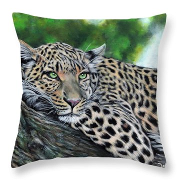 Leopard On Branch Throw Pillow