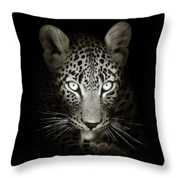 Leopard Portrait In The Dark Throw Pillow