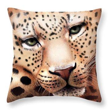 Leopard Resting Throw Pillow by Angela Murdock