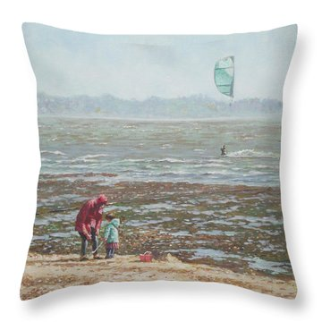 Throw Pillow featuring the painting Lepe Beach Windy Winter Day by Martin Davey