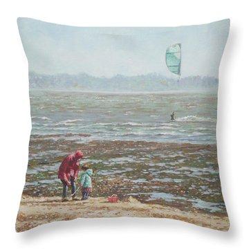 Lepe Beach Windy Winter Day Throw Pillow by Martin Davey