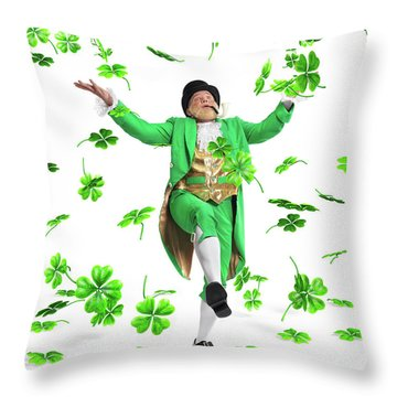 Leprechaun Tossing Shamrock Leaves Up In The Air Throw Pillow by Oleksiy Maksymenko