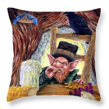 Leprechaun's Lair Throw Pillow by Heather Calderon