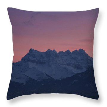 Les Dents Du Midi Throw Pillow by Colleen Williams