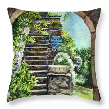 Les Escaliers En Bandouille In Sevres France  Throw Pillow by Carol Wisniewski