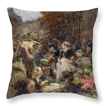Les Halles Throw Pillow by Leon Augustin Lhermitte
