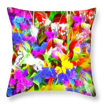 Les Jolies Fleurs Throw Pillow by Jack Torcello