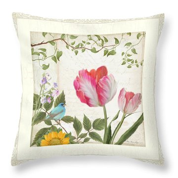 Les Magnifiques Fleurs I - Magnificent Garden Flowers Parrot Tulips N Indigo Bunting Songbird Throw Pillow