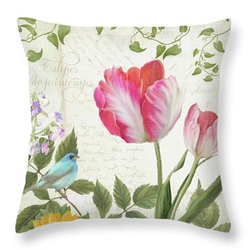 Les Magnifiques Fleurs IIi - Magnificent Garden Flowers Parrot Tulips N Indigo Bunting Songbird Throw Pillow by Audrey Jeanne Roberts