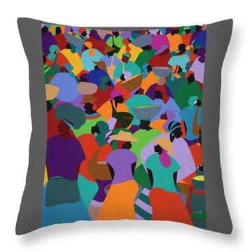 Les Palmes Market Haiti Throw Pillow
