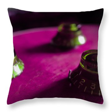 Guitar Controls Series Pink And Green Throw Pillow