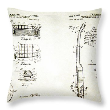 Les Paul Guitar Patent 1955 Throw Pillow by Bill Cannon