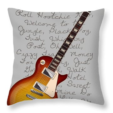Les Paul Songs T-shirt Throw Pillow by WB Johnston