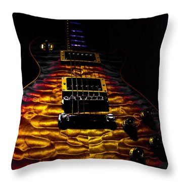 Tri-burst Quilt Top Guitar Spotlight Series Throw Pillow