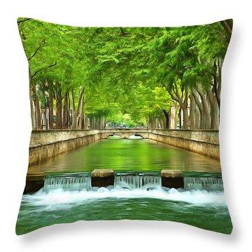 Les Quais De La Fontaine Nimes Throw Pillow by Scott Carruthers