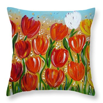 Les Tulipes - The Tulips Throw Pillow by Gioia Albano