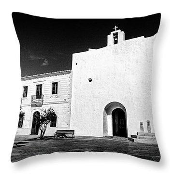 Fortified Church, Formentera Throw Pillow
