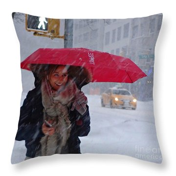 L Esprit De New York - Winter In New York Throw Pillow by Miriam Danar