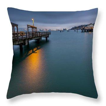 Less Davis Pier Commencement Bay Throw Pillow