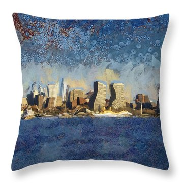 Throw Pillow featuring the mixed media Less Wacky Philly Skyline by Trish Tritz