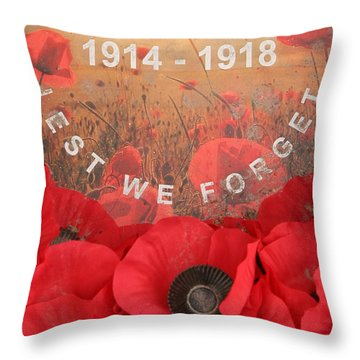 Lest We Forget - 1914-1918 Throw Pillow by Travel Pics