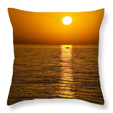 Lesvos Sunset Throw Pillow by Meirion Matthias
