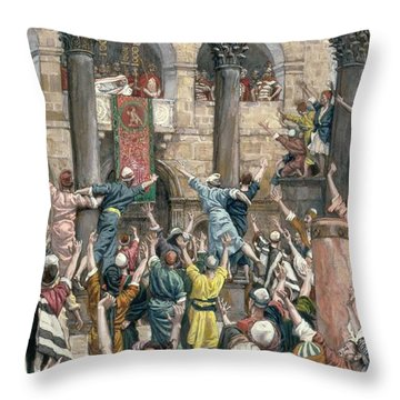 Let Him Be Crucified Throw Pillow by Tissot