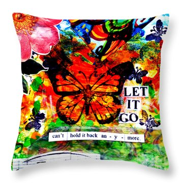 Throw Pillow featuring the mixed media Let It Go by Genevieve Esson