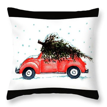Let It Snow Throw Pillow by Heidi Kriel