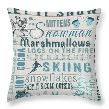 Throw Pillow featuring the digital art Let It Snow by Jean Plout
