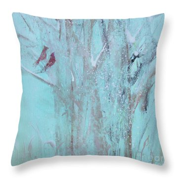 Throw Pillow featuring the painting Let It Snow by Robin Maria Pedrero