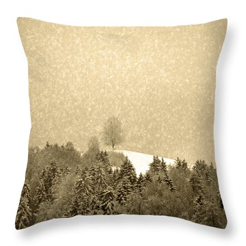 Throw Pillow featuring the photograph Let It Snow - Winter In Switzerland by Susanne Van Hulst