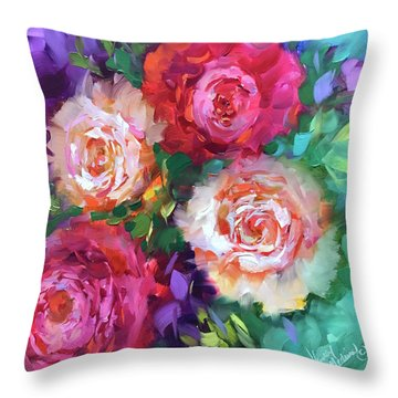 Let The Joy In Roses And Peonies Throw Pillow