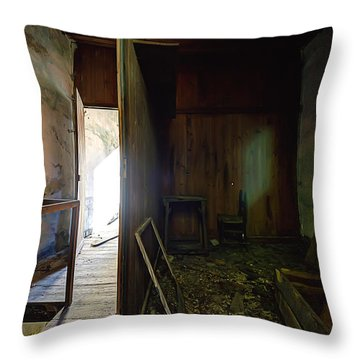 Throw Pillow featuring the photograph Let The Sun Shine In The Zoagli Abandoned Home by Enrico Pelos
