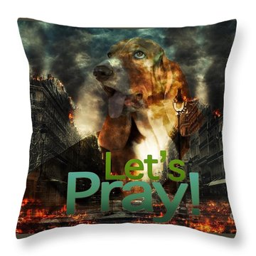 Throw Pillow featuring the digital art Let Us Pray by Kathy Tarochione