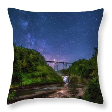 Throw Pillow featuring the photograph Letchworth At Night by Mark Papke