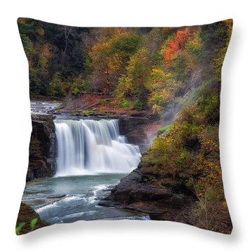 Letchworth Lower Falls 3 Throw Pillow