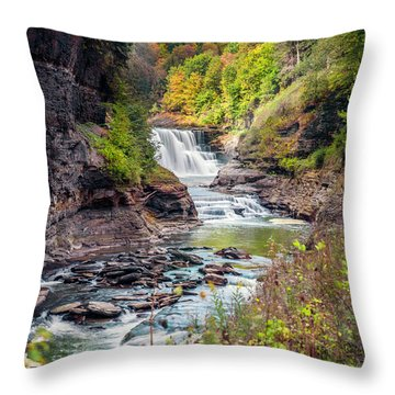 Letchworth Lower Falls In Autumn Throw Pillow