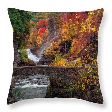 Letchworth Lower Falls Throw Pillow