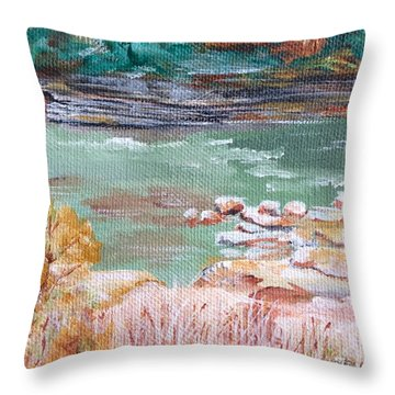 Letchworth State Park Throw Pillow by Ellen Canfield
