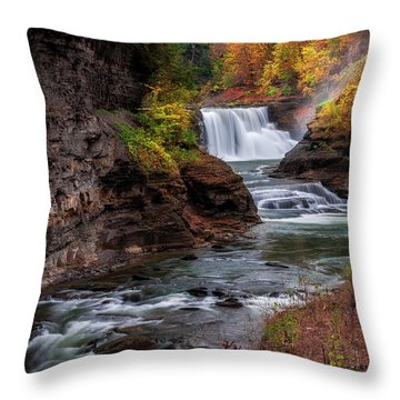 Letchworth State Park Lower Falls Throw Pillow by Mark Papke