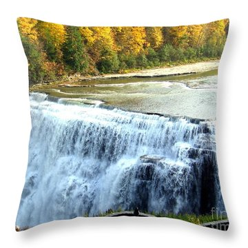 Letchworth State Park Middle Falls Autumn Throw Pillow
