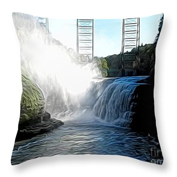 Throw Pillow featuring the photograph Letchworth State Park Upper Falls And Railroad Trestle Abstract by Rose Santuci-Sofranko