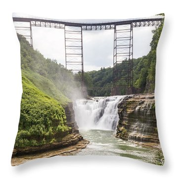 Letchworth Upper Falls Throw Pillow